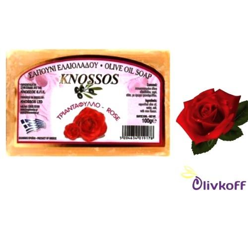 оливковое мыло с розой knossos